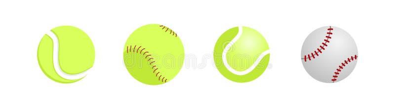 Fim realístico da bola do tênis e do basebol isolado acima no fundo branco Engrenagem do tênis para o jogo Ilustração do vetor ilustração do vetor