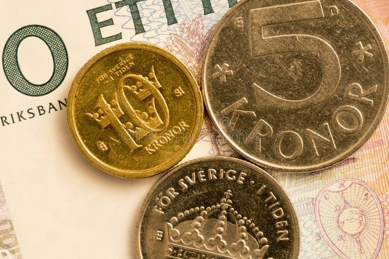 Fim sueco da moeda acima foto de stock royalty free