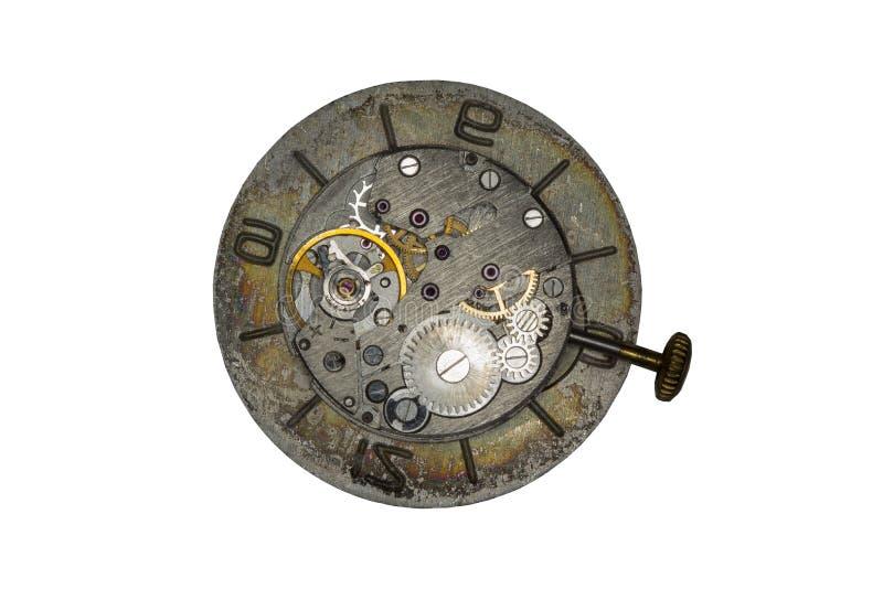 Fim velho do mecanismo do relógio acima da imagem imagem de stock royalty free