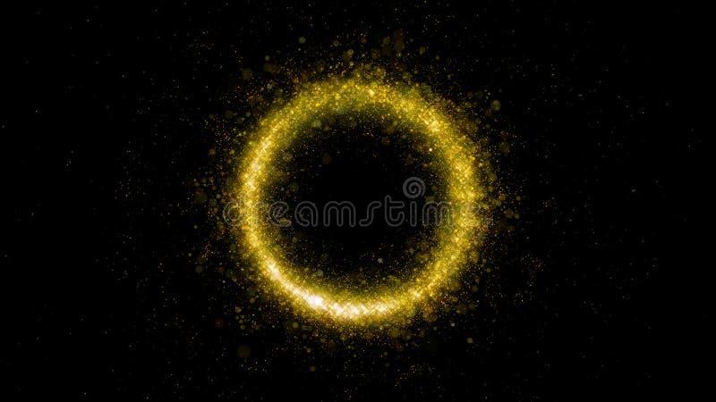 Fim zero do número dos fogos de artifício acima Chuveirinho de queimadura na forma de oval e do círculo isolados no fundo preto O fotografia de stock royalty free