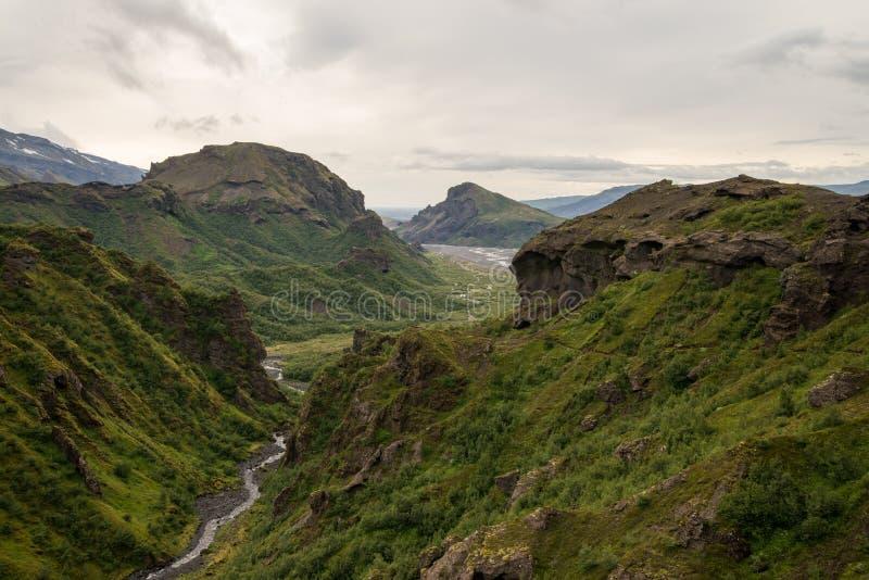 Fimmvorduhals艰苦跋涉在冰岛 图库摄影
