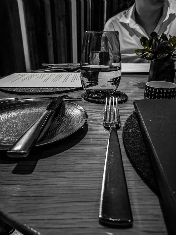 Fin äta middag sikt arkivbild