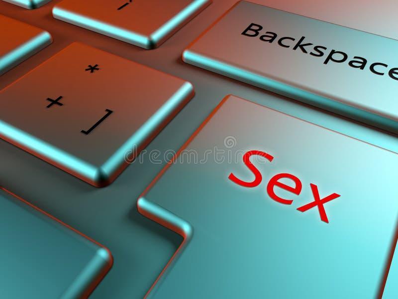 Fin élégante de clavier vers le haut de vue avec la clé rouge de sexe illustration stock