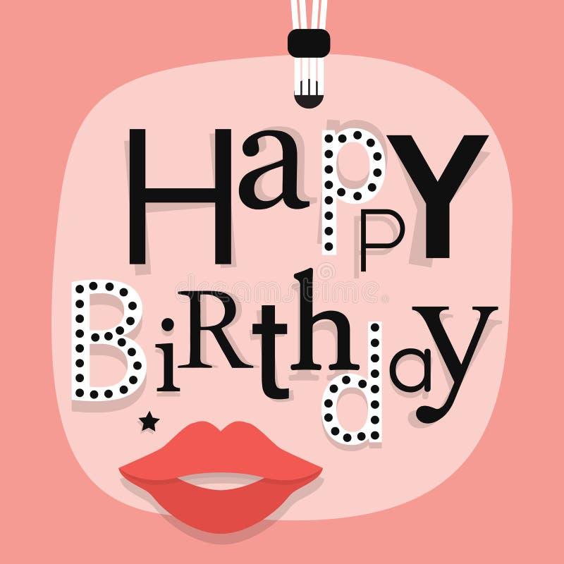 Fin abstraite d'accrocher le message de joyeux anniversaire avec des lèvres de femme sur l'étiquette rose de cadeau illustration stock