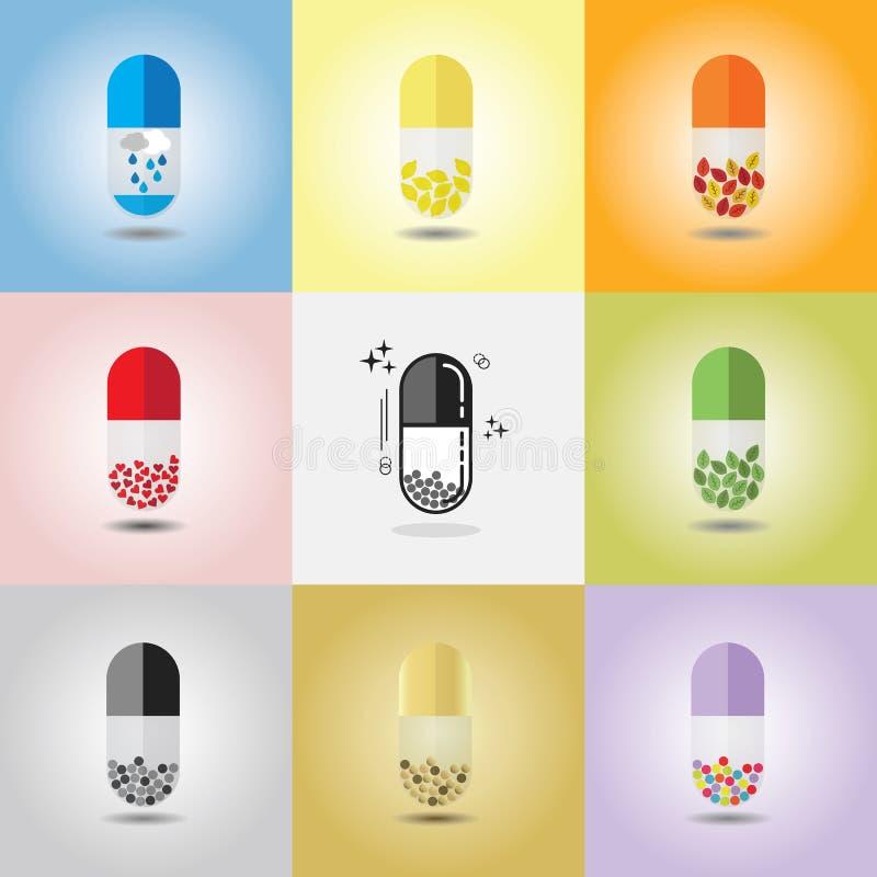 Fin abstraite des capsules simples verticales colorées et conceptuelles réglées illustration libre de droits