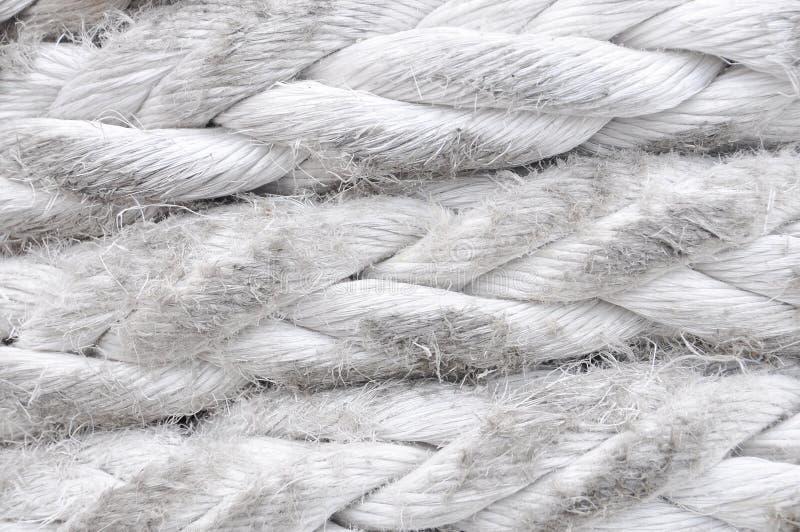 Fin blanche de corde d'amarrage de cru comme fond photographie stock libre de droits