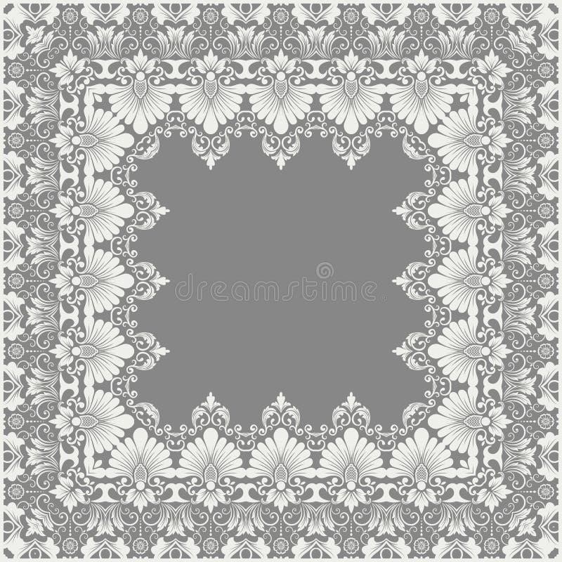 Fin blom- fyrkantig ram för vektor Dekorativ beståndsdel för inbjudningar och kort Gränsbeståndsdel royaltyfri illustrationer