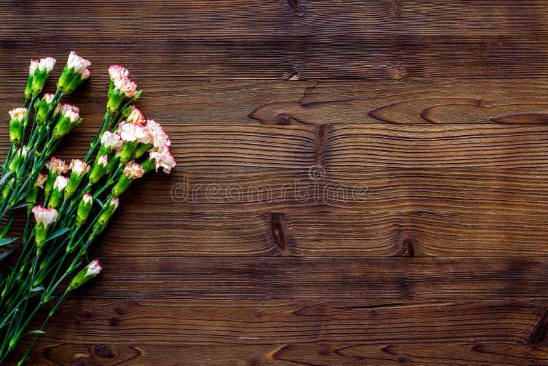 fin blommafjäder Liten rosa nejlika på mörkt träutrymme för bästa sikt för bakgrund för text arkivbild