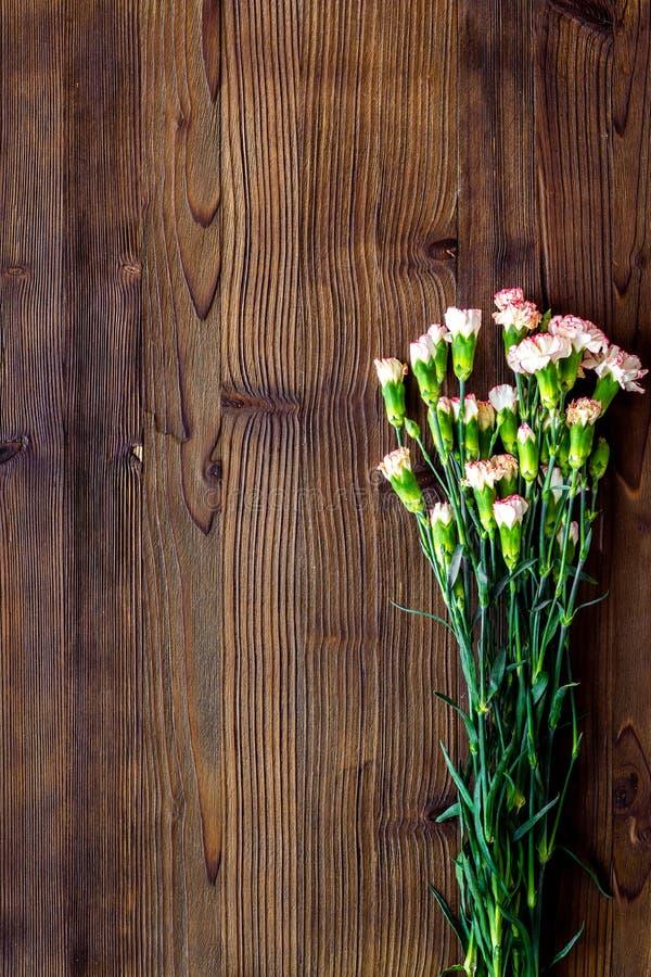 fin blommafjäder Liten rosa nejlika på mörkt träutrymme för bästa sikt för bakgrund för text royaltyfria foton