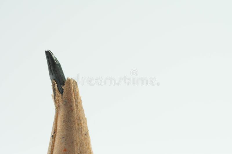 Fin cassée de crayon vers le haut de macro tir images libres de droits