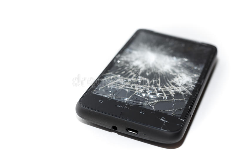 Fin cassée de Smartphone, écran brisé photographie stock