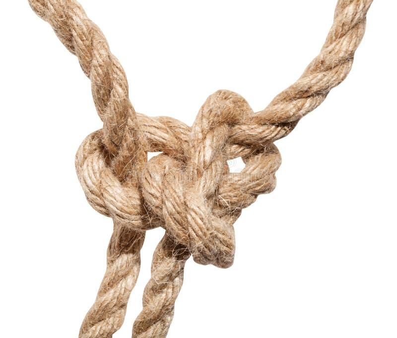 Fin courante de noeud de bouline sur la corde épaisse de jute photo stock