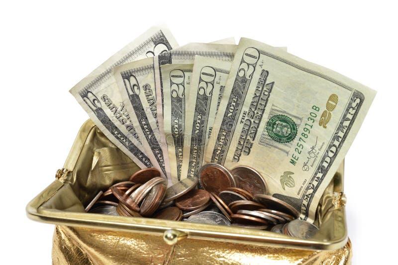 Fin de bourse de pièce d'or avec l'argent photos stock