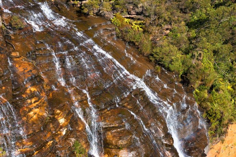 Fin de cascade de Wentworth Falls vers le haut de vue d'en haut image stock