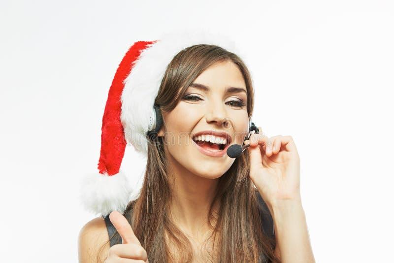 Fin de femme d'affaires de Santa de Noël vers le haut de portrait de visage Ba blanc photographie stock libre de droits