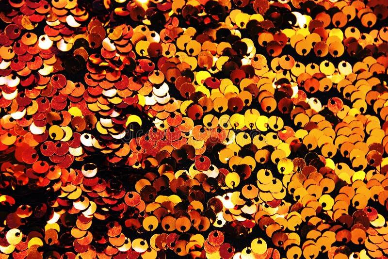Fin de fond de textile de paillettes d'or  Texture ronde de paillettes photo stock