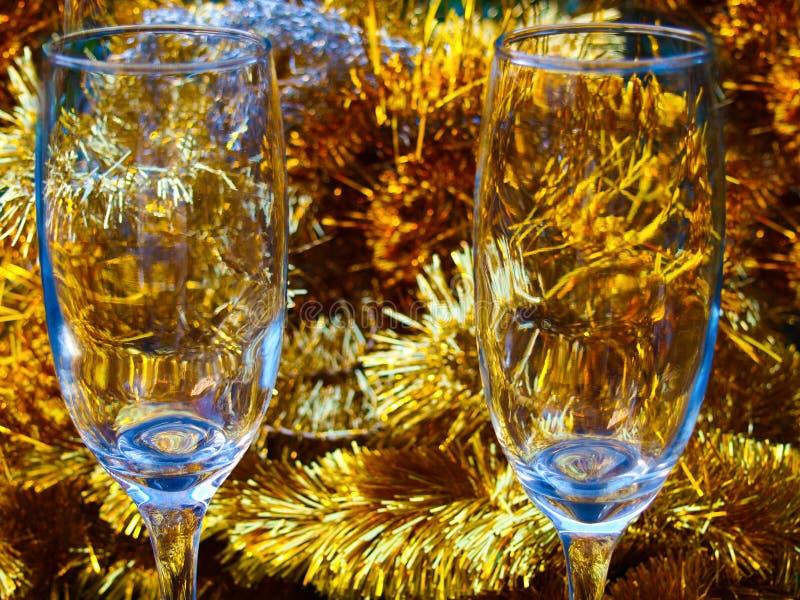 Fin de glasse du champagne deux  photographie stock libre de droits