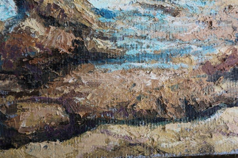 Fin de peinture à l'huile vers le haut de texture avec des courses de brosse photo libre de droits