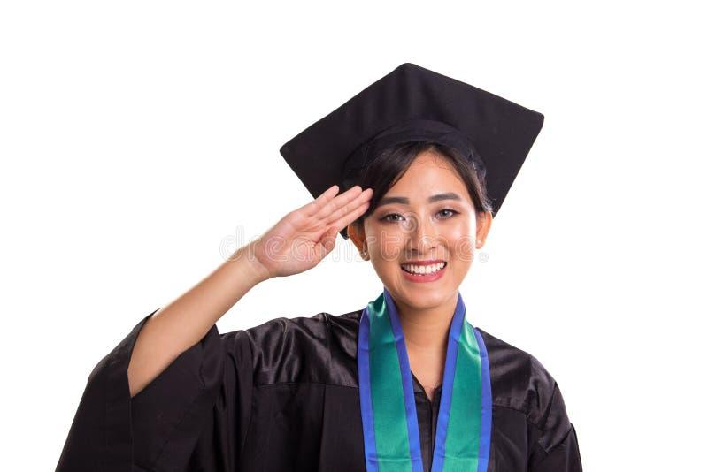 Fin de salutation d'étudiante de main vers le haut du portrait d'isolement sur le blanc photographie stock libre de droits
