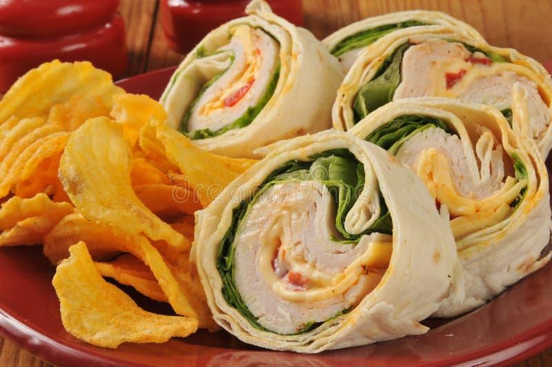 Fin de sandwich à enveloppe de la Turquie  image stock