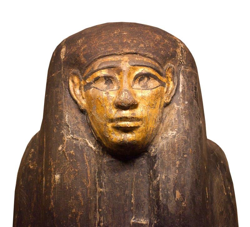 Fin de sarcophage de pharaon d'isolement sur le fond blanc photographie stock libre de droits