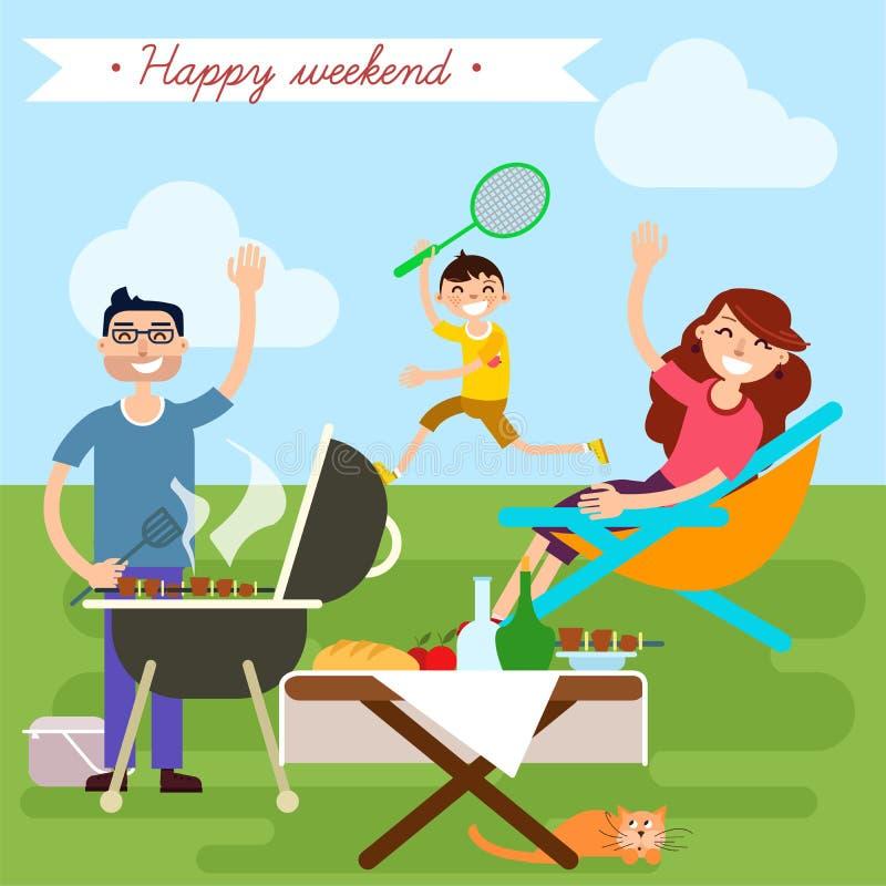 Fin de semana de la familia Familia feliz Partido de la barbacoa Comida campestre de la familia ilustración del vector
