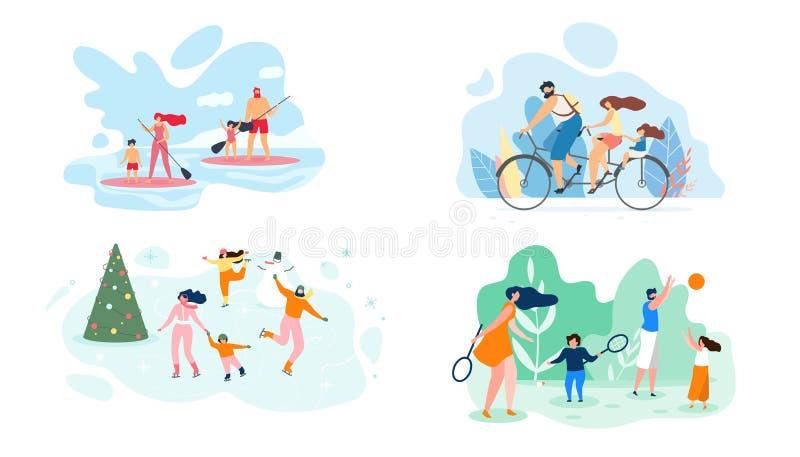 Fin de semana del verano en plano del vector de la familia entera del río stock de ilustración