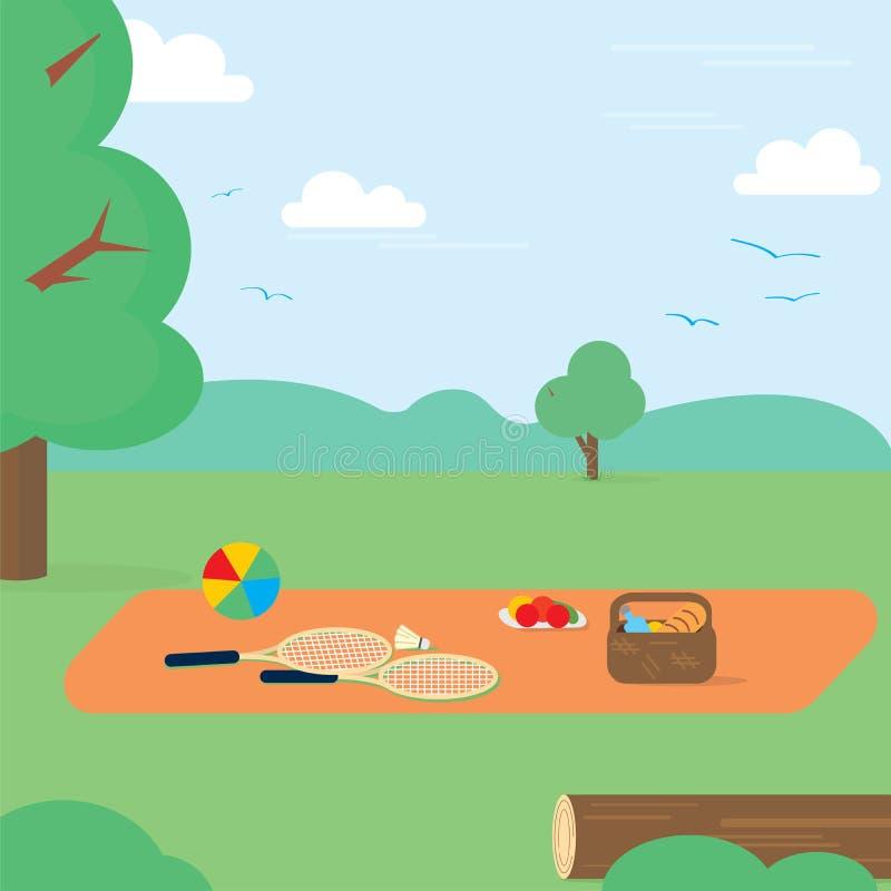 Fin de semana feliz, partido, comida campestre, comida, verano Ilustración del vector libre illustration
