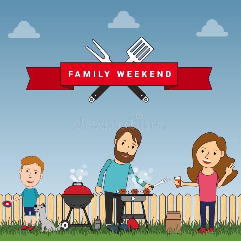 Fin de semana o comida campestre feliz de la familia: madre, padre y su pla del hijo ilustración del vector