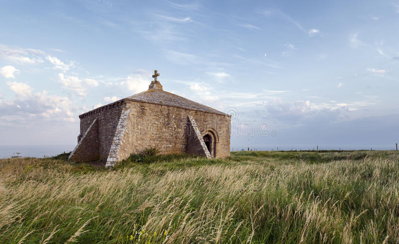 Fin de soirée à la chapelle de St Aldhelm dans Dorset photo libre de droits