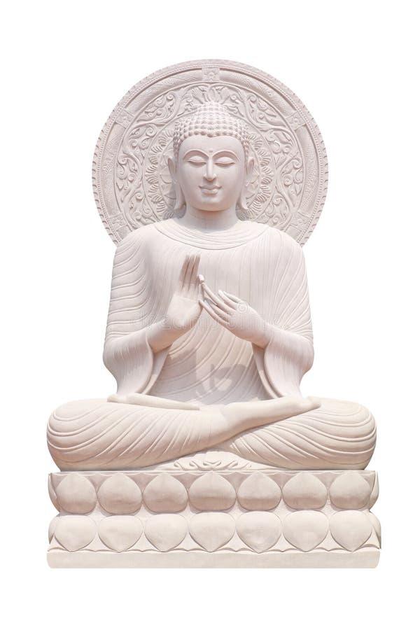 Fin de statue de Bouddha d'isolement contre le blanc image stock