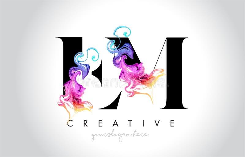Fin de support Leter créatif vibrant Logo Design avec l'encre colorée la Floride de fumée illustration de vecteur