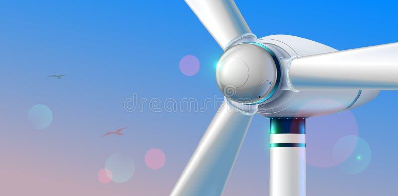 Fin de turbine de vent vers le haut Station abstraite d'énergie éolienne produisant l'énergie de substitution renouvelable sur le illustration stock