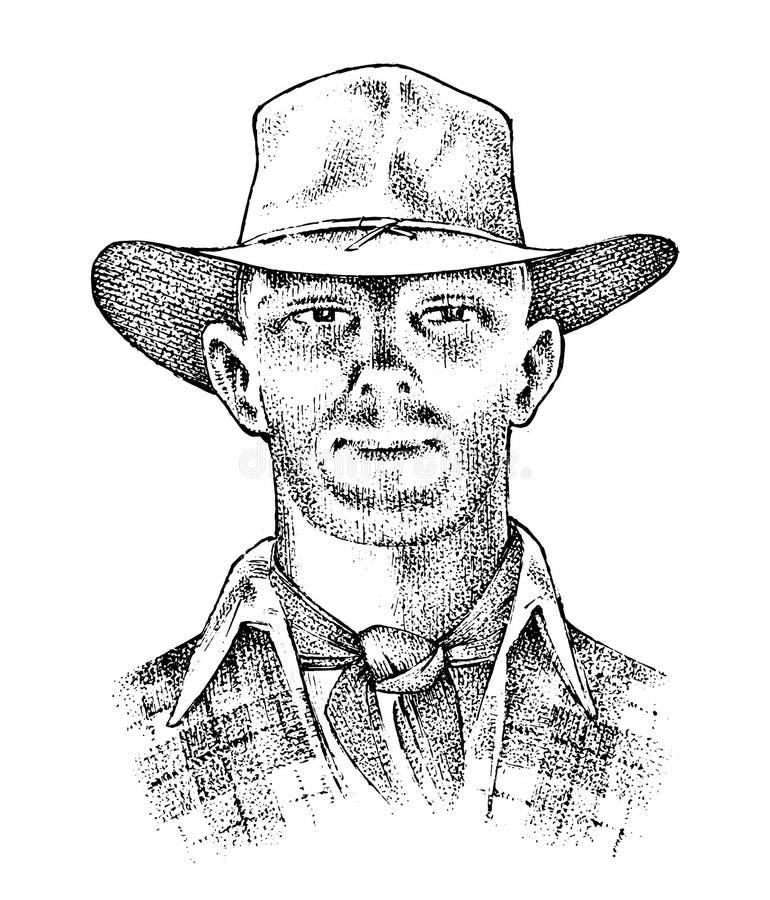 Fin de visage de cowboy  Shérif dans le chapeau Icône occidentale de rodéo, Texas Ranger, ouest sauvage, style campagnard Main gr illustration stock