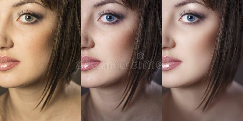 Fin du visage de la fille vers le haut dans 3 options : l'original, après cor de couleur photos stock