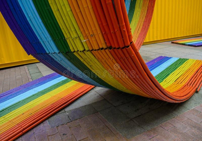 Fin en bambou colorée de texture  photo stock