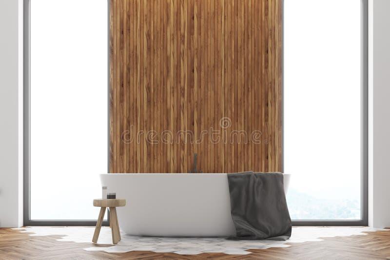 Fin en bois blanche et foncée d'intérieur de salle de bains  illustration stock