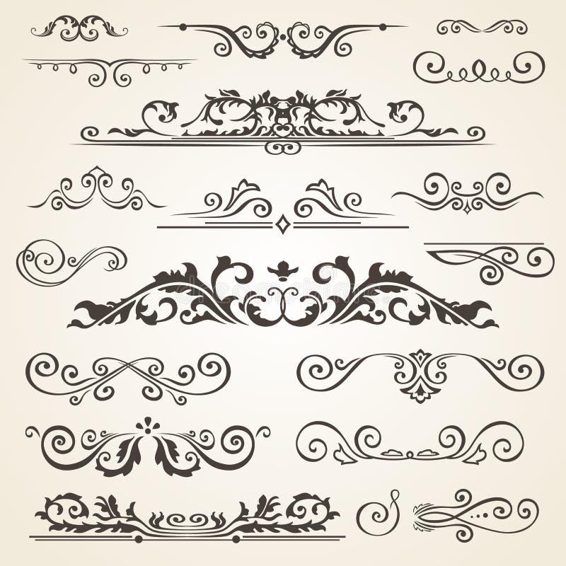 Fin linje uppsättning av designbeståndsdelar som isoleras på ljus bakgrund Samling för vektorrambeståndsdel Bokavdelare royaltyfri illustrationer