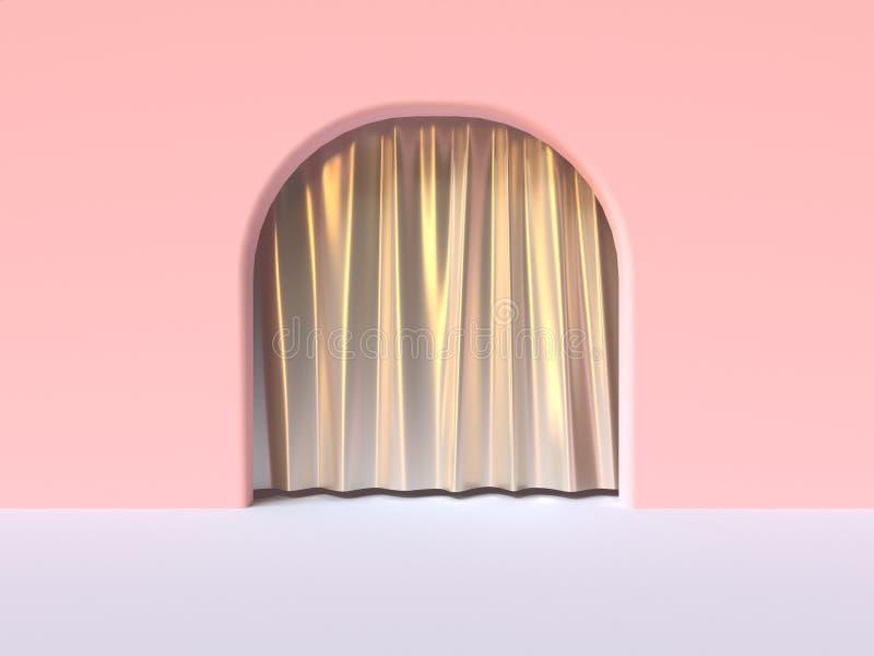 fin métallique blanche 3d de rideau plancher de mur de rose d'abrégé sur en porte blanche de courbe rendre illustration stock