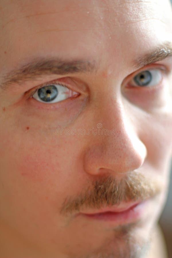 Fin masculine de visage vers le haut Beaux yeux bleus, nez et lèvres Homme bel photos stock