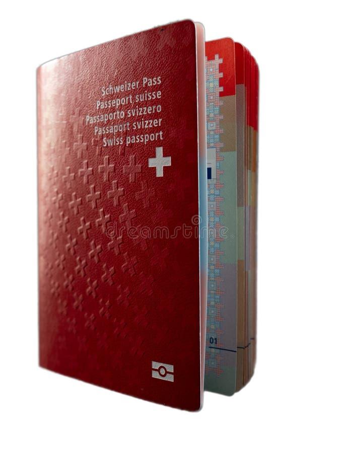 Fin suisse de passeport sur la citoyenneté blanche de la Suisse de fond image libre de droits