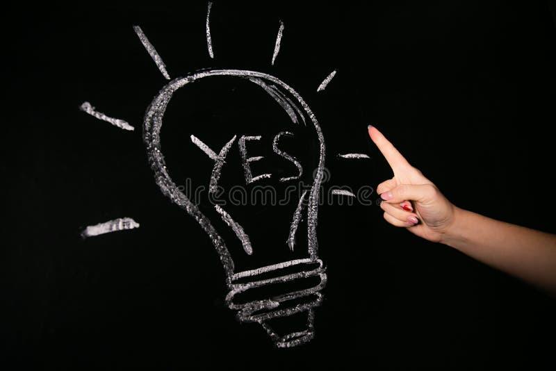 Fin vers le haut de doigt femelle de points de main à une ampoule marquée à la craie sur un conseil noir avec le mot oui photographie stock libre de droits