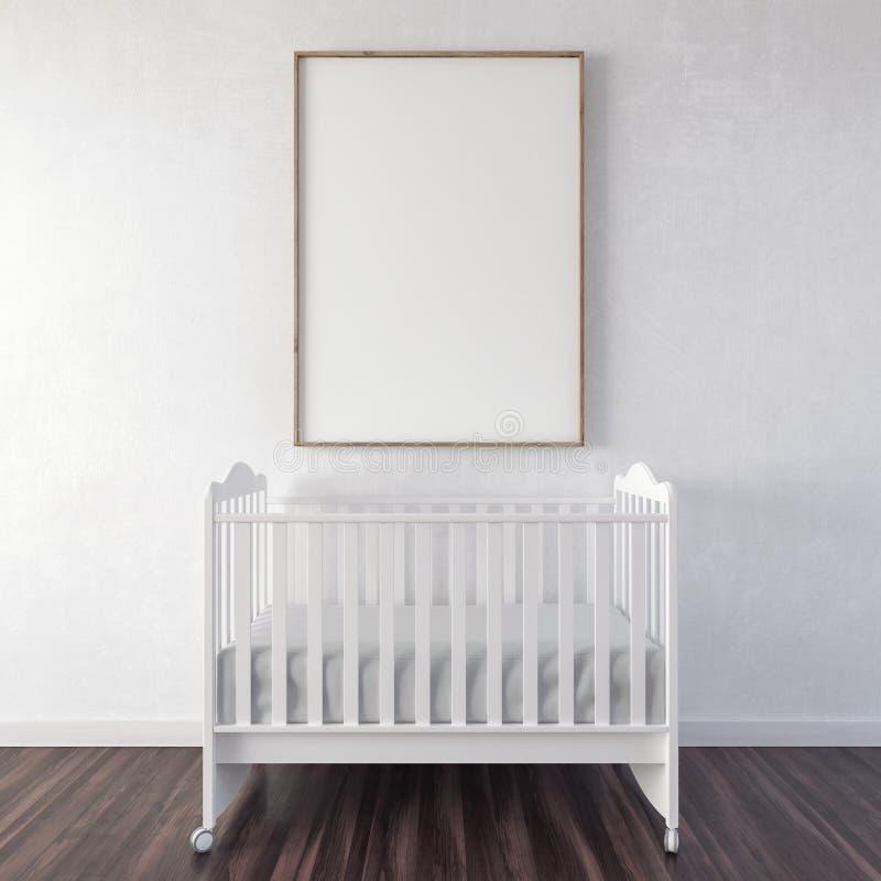 Fin vers le haut de l'affiche, lit de bébé avec la fausse affiche haute 3d rendre illustration libre de droits