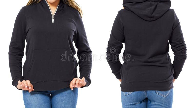 Fin vers le haut de la moquerie noire de hoodie d'isolement au-dessus du fond blanc - pull molletonné noir d'ensemble, femme dans photographie stock