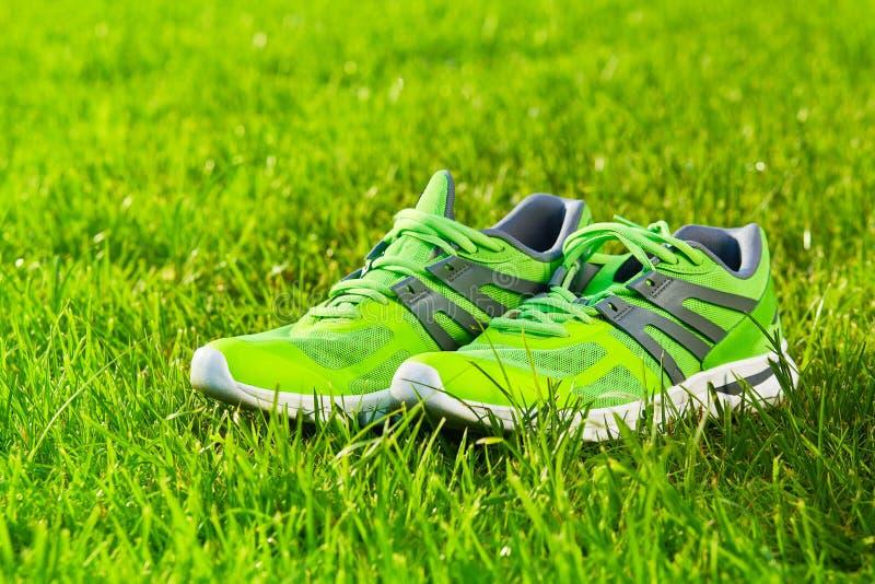 Fin vers le haut de nouvelles paires de chaussures de course vertes/de chaussures d'espadrille sur le champ d'herbe verte en parc photo libre de droits