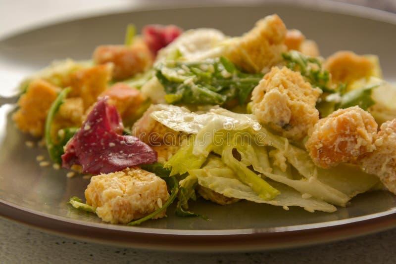 Fin vers le haut de salade de César avec les croûtons et le habillage Nourritures saines photographie stock libre de droits