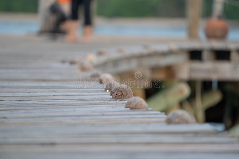 Fin vers le haut de style ancien classique de jetée avec la manière en bois de promenade pour le fond de empaquetage de cru de na photos stock