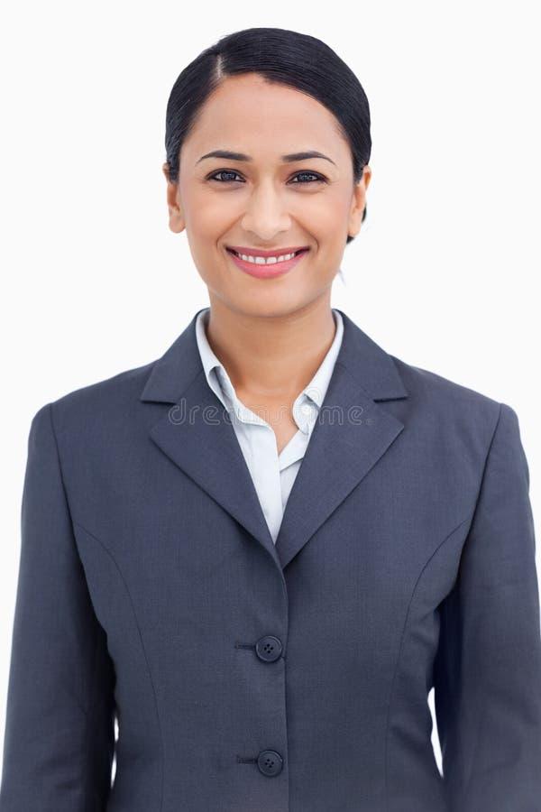 Fin vers le haut de vendeuse de sourire heureuse photographie stock