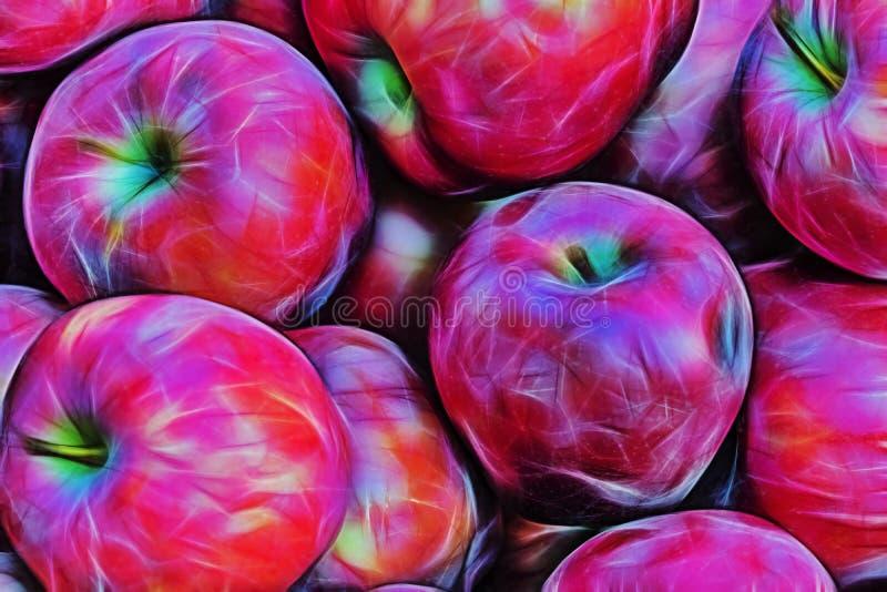 Fin vers le haut des pommes rouges sur le support du marché illustration libre de droits