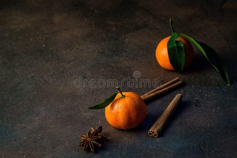 Fin vers le haut Deux variétés oranges de mandarine de clémentine, de feuilles vertes, de bâtons de cannelle et d'étoiles d'anis  image libre de droits